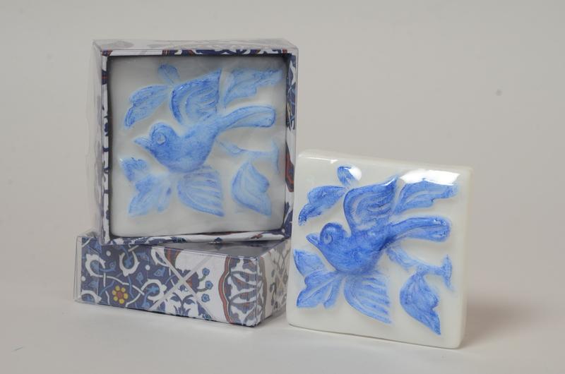 Azulejo portugues pássaro azul