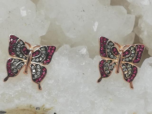 Brincos Prata 925mm rosa, Zircónias naturais várias cores, Borboleta